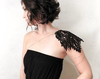 black lace epaulette // ASIYA // shoulder jewelry / body jewelry / bridal jewelry / boho chic jewelry / unique  / goddess jewelry, harness