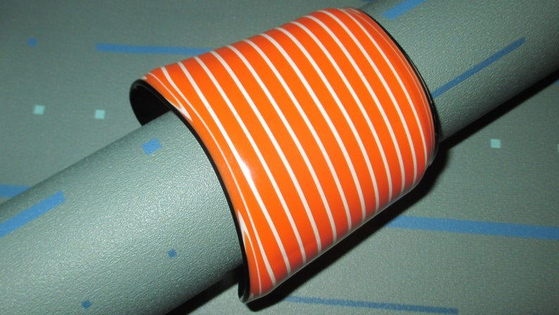 Vintage MOD 70s Orange and White Striped Layered Lucite Cuff Bracelet