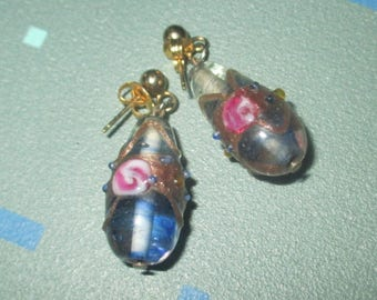 Vintage Purple Italian Wedding Cake Teardrop Glass Earrings