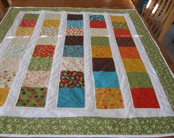 Large Crib Quilt for Boy or Girl made with Lolipop Fabric from Moda