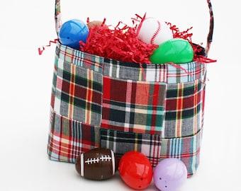 Easter Basket Bucket Boys blue red madras  plaid