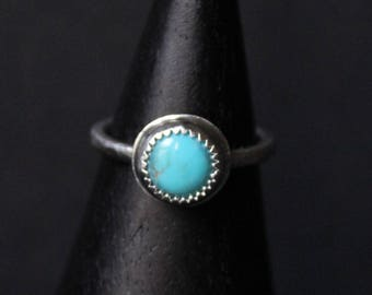 Kingman Turquoise Sterling Silver Stacking Ring | Arizona Mine | December Birthstone | Gugma Women's Minimalist