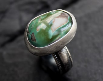 READY TO SHIP - Green Royston Turquoise Sterling Silver Ring   Size 7   Nevada Mine   Boho Bohemian Minimalist   Gugma Jewelry