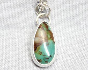 Green Teardrop Royston Turquoise Sterling Silver Necklace Bohemian Boho Minimalist Gugma Jewelry Nevada Mine