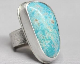 White Buffalo Triangular Turquoise Sterling Silver Ring Geometric Triangle Minimalist Boho Bohemian Gugma Jewelry Nevada Mine SIZE 6