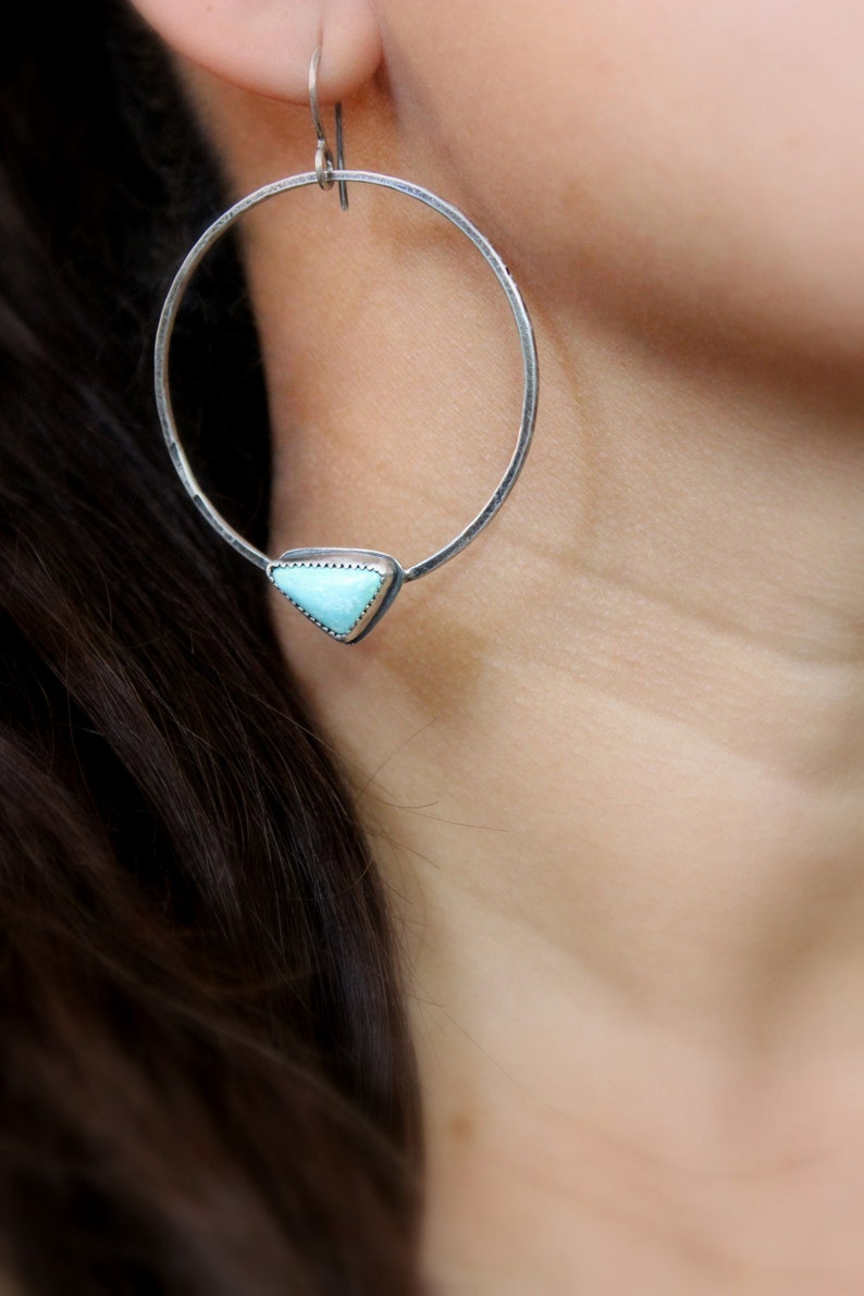 READY TO SHIP Geometric Triangle Dangles Hoops Gugma Women/'s Minimalist Jewelry Campitos Turquoise Sterling Silver Hoop Earrings #003