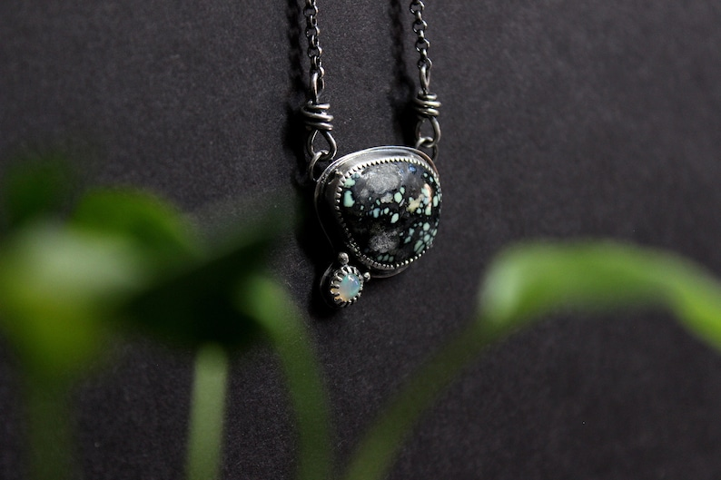 Gugma Jewelry Boho Bohemian Minimalist New Lander x Ethiopian Opal Sterling Silver Pendant Necklace Two Stone Statement Jewelry