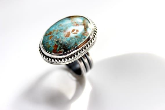 Gugma Jewelry Royston Ribbon Turquoise Sterling Silver Ring Boho Minimalist Nevada Mine SIZE 7.25 7.5