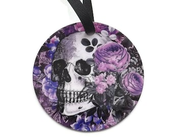 Goth Skull Ornament purple flowers spider web halloween christmas decoration trick treat home decor gothic party favors stocking stuffers