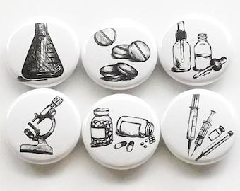 Pharmacist Gift magnets graduation pills vials microscope beaker syringe pharmacy science party favor stocking stuffer medical button pin