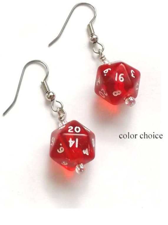 Dice Earrings Handmade Wire Wrapped Earrings Polyhedral d20