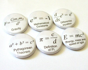 Math Teacher gift Formulas arithmetic refrigerator MAGNETS Nerd Science Pi day Equations Geekery button pins back to school party favors