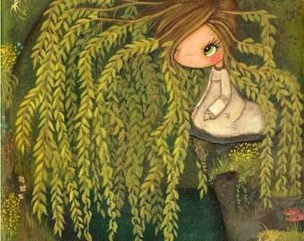 Weeping Willow Print Tree Deer Flower Spring Girl Pond Nature Art Wall Decor