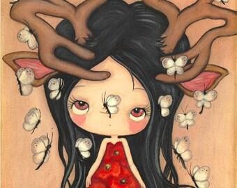 Deer Print Girl Butterfly Poppy Wall Art Antlers Poppies 21 Butterflies