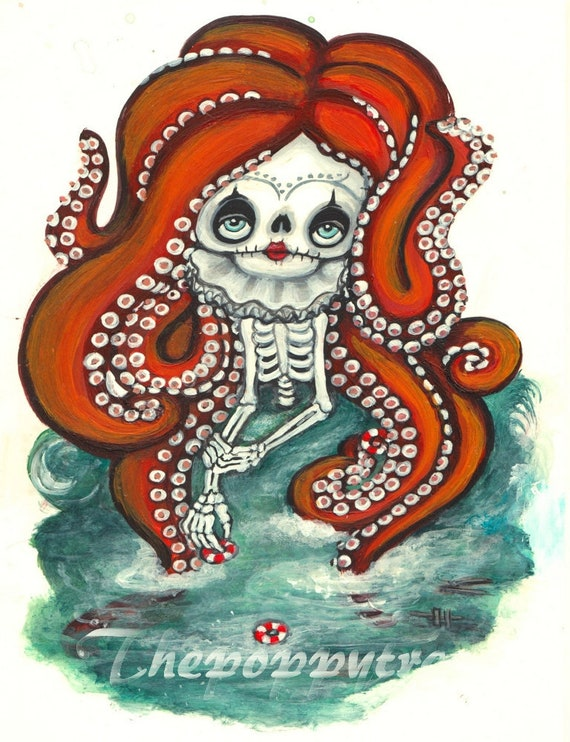 Octopus cryptid clown girl nautical eaten sailors Art Drawlloween Print