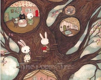 Tree Print Animal Art Critter Bunny Rabbit Bear Print Children Wall Art---Forest Grove Apartments