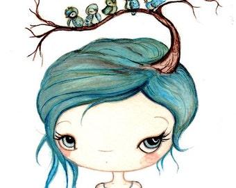 Blue Bird Print Girl Portrait Birds Spring Wall Art---Bluebirds In My Tree