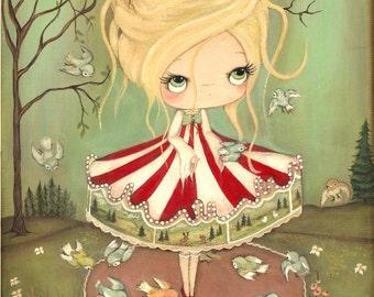 Carousel Print Whimsical Bird Carousel Art Merry Go Round Carnival Girl Wall Art