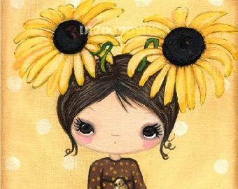 Girl Print Yellow Flower Whimsical Girl Portrait Bird Wall Art---Black Eyed Susan 8 x 8