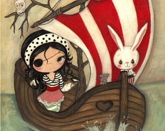 Pirate Print Girl Animal Boat Children's Nursery Wall Art ---Pirate Ship