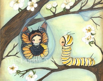 Butterfly Print  Raindrop Tree Caterpillar Blossom Wall Art 8 x 8---Inner Beauty