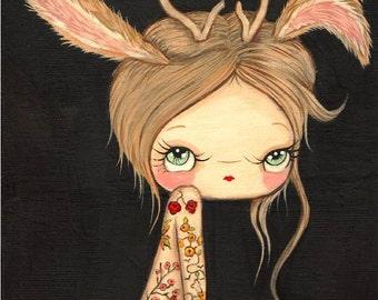 Jackalope Girl  Print Tattooed Fuzzy Bunny Deer Wall Art Whimsical Portrait