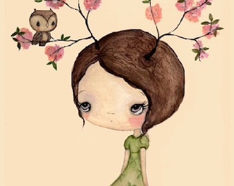 Tree Print Pink Cherry Blossom Bloom Spring Girl Wall Art---Owl In My Tree