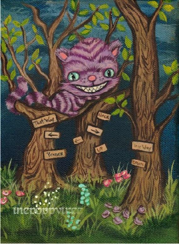 W Cheshire Kot Drukuj Słodkie Alicja W Krainie Czarów Las Etsy