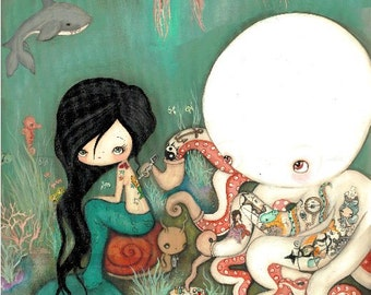Octopus Print Tattooed Girl Mermaid Nautical Original Art---The Octopus Tattoo artist