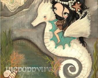 Seahorse Print Nursery Art Sea Shell Castle Princess Seahorse Girl