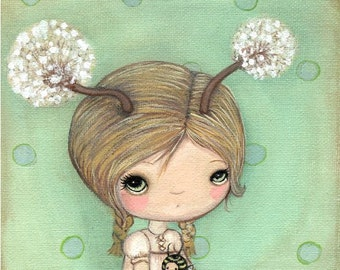 Dandelion Print Whimsical Girl Portrait Wall Art---Dande And Bee 8 x 8