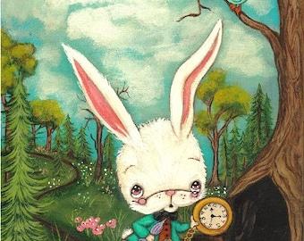 The White Rabbit Print Cute Pencil Bird Fairy Tale Wall Art --- Rabbit Hole