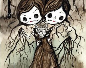Conjoined Twins Skeleton sisters tree Sugar skull Illustration Print Art Spooky Trees Print