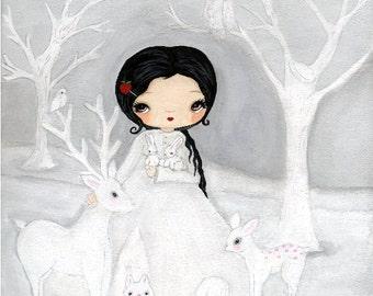 Snow White Print Fairy Tale art Forest White Nursery Decor Children Animal Art Print Deer Owl Fox Squirrel Forest---White As Snow Print