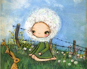 Dandelion Print Rabbit Wall Art Nursery Art Barb Wired Bird Wall Art