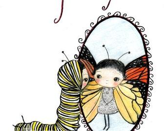 Butterfly Girl Print Monarch Cute Nursery Art Girl Wall Decor--Inner Beauty