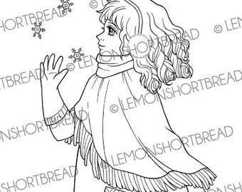 Digital Stamp Bohemian Winter Girl, Digi Download, Christmas, With Shawl, Snow Fashion, Coloring Page, Clip Art, Scrapbooking Supply