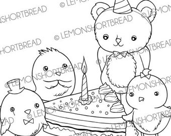 Digital Stamp Happy Birthday Friends, Digi Download, Cake Party Celebration, Birds Teddy Bear Cute Animals, Clip Art Graphic, Coloring Page