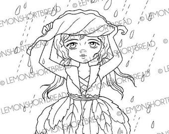 Digital Stamp Rain Shield, Digi Fantasy Printable Coloring Page, Fairy Pixie Leaf, Anime Art, Instant download