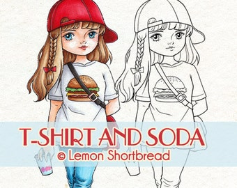 Digital Stamp T-shirt Soda Girl, Digi Download, Hipster, Summer City, Burger, Graphic Clip Art, Coloring Page, Scrapbooking Supplies