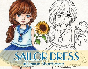 Digital Stamp Sailor Dress Sunflower Girl, Digi Flower Floral, Thinking of You, Get Well Soon, Coloring Page, Image