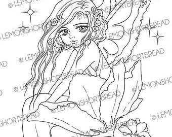Digital Stamp Fairy in Blossom, Digi Fantasy Printable Coloring Page, Anime Art, Flower, Instant Download