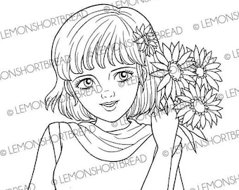 Digital Stamp Aster Flower Girl, Digi Coloring Page, Daisy Floral Summer Autumn, Scrapbooking Instant Download
