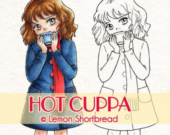 Digital Stamp Hot Cuppa Girl, Digi Download, Coffee Cocoa, Autumn Winter Fall, Fashion, Clip Art, Coloring Page, Scrapbooking Supplies
