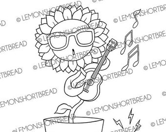 Digital Stamp Dancing Sunflower, Digi Download, Summer Garden, Music Guitar Ukulele, Coloring Page, Floral Flower, Clip Art
