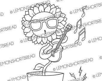 Digital Stamps Dancing Sunflower, Digi Coloring Page, Summer Garden, Music Guitar Ukulele, Floral Flower