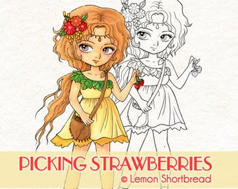 Digital Stamp Strawberry Pixie Fairy, Digi Download, Coloring Page, Fantasy Summer, Fruits Flower, Scrapbooking Supplies, Clip Art