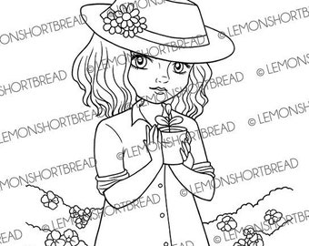 Digital Stamp Seedling Sprout, Gardening Digi Download, Girl Coloring Page, Summer Garden, Floral Flowers, Clip Art, Scrapbooking Supplies