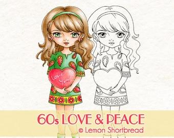 Digital Stamp 60s Love Peace Girl, Valentine's Day, Digi Download, Heart Hippie, I Love You, Scrapbooking Supplies, Clip Art, Graphic