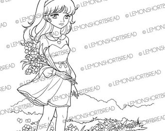 Digital Stamp Summer Garden Girl, Digi Download, Floral Flowers, Coloring Page, Clip Art, Card Scrapbooking Supplies
